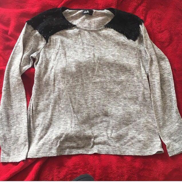 Grey lace shoulder top