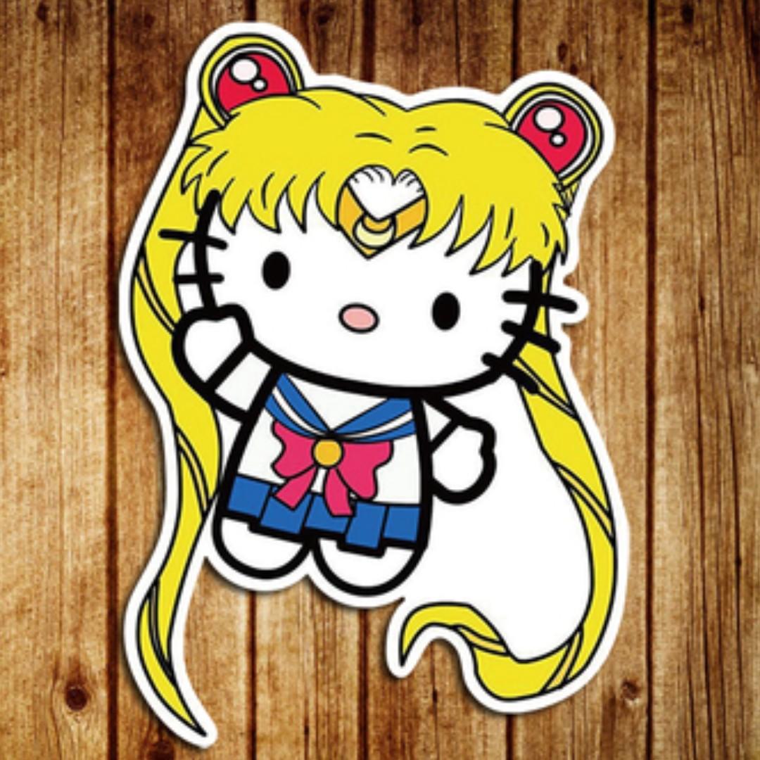 8aaf71263 Hello Kitty Sailor Moon Anime Cartoon Sticker Gloss Waterproof ...
