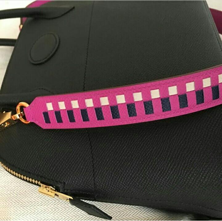 cb841941d82c ... new zealand hermes tressage de cuir leather bag strap 70cm in magnolia  blue saphire craie luxury