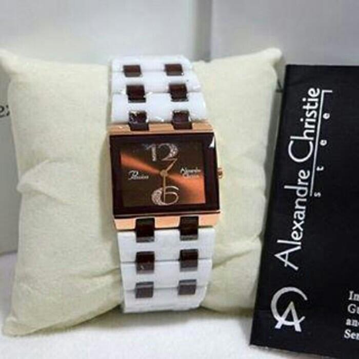 Jam tangan wanita alexandre christie original ac2562 keramik putih ... 71ff31fd55