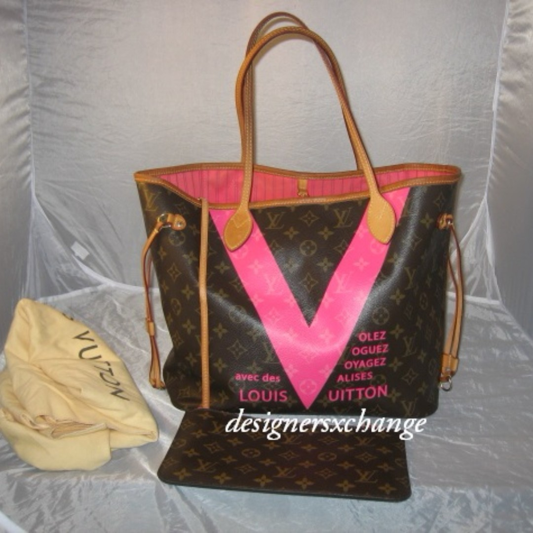 2848afe0f083 Louis Vuitton V Voyage Neverfull MM Grenade (Pink) Monogram Tote Bag ...