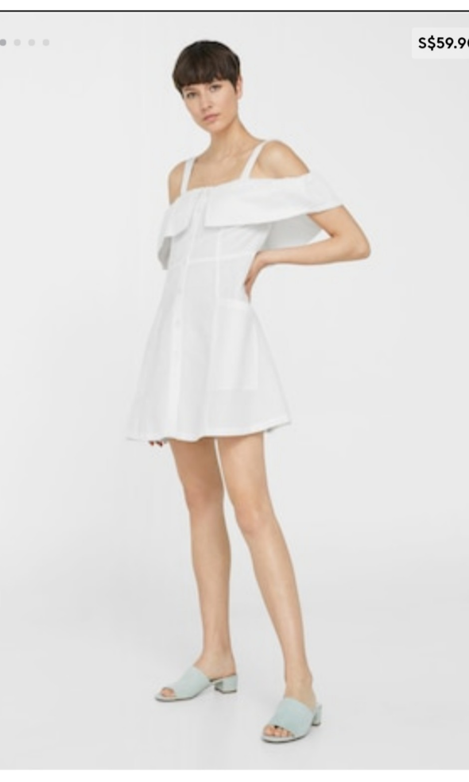 656596e34b Mango Off Shoulder White Linen Button Down Dress