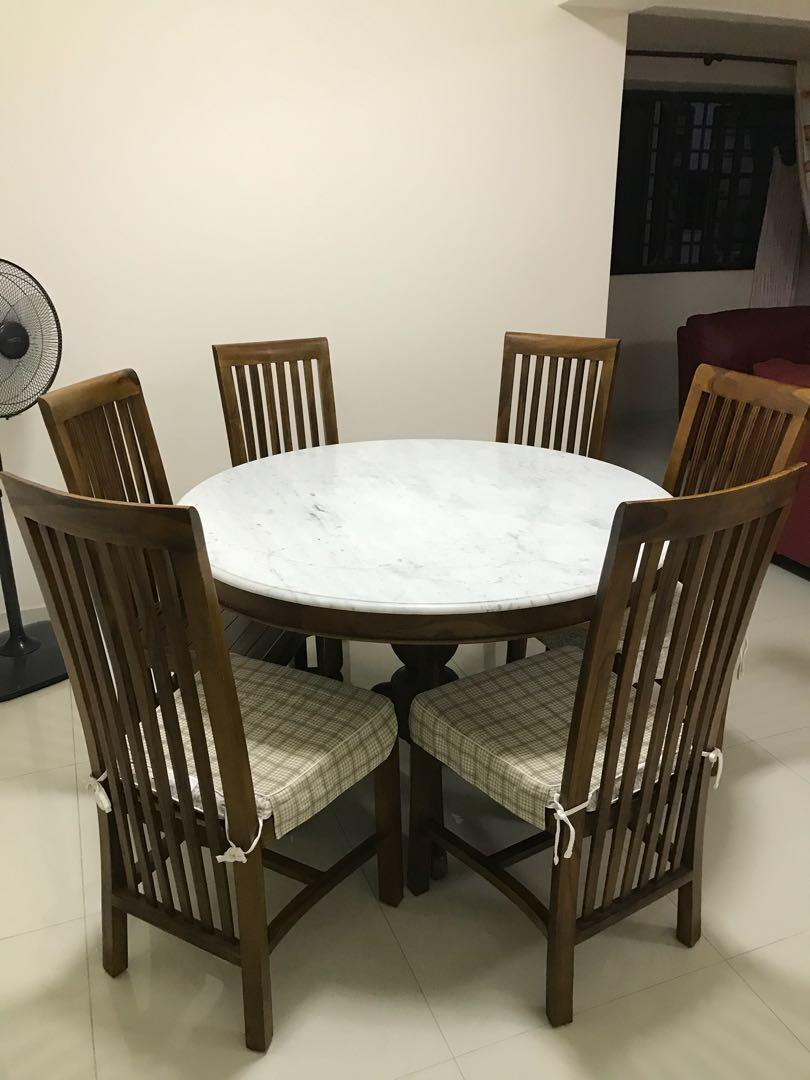 Marble Top Teak Dining Set Furniture Tables Chairs On Carousell