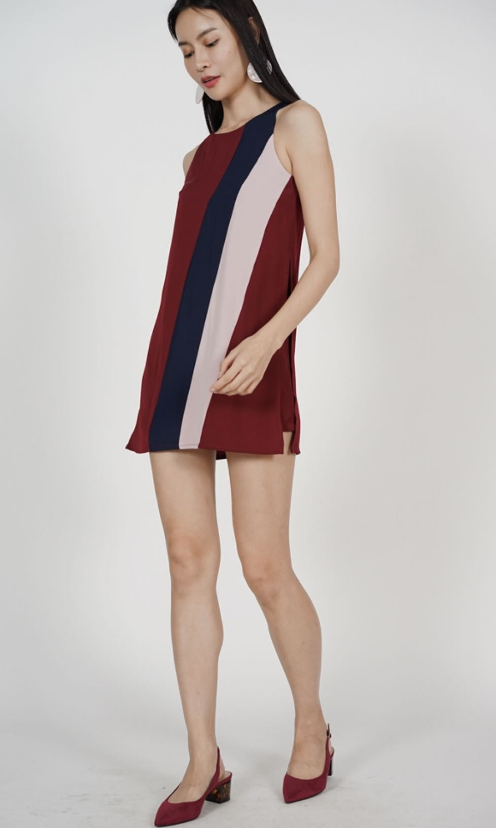 d97ab275e25 MDS - Striped Contrast Romper in Maroon
