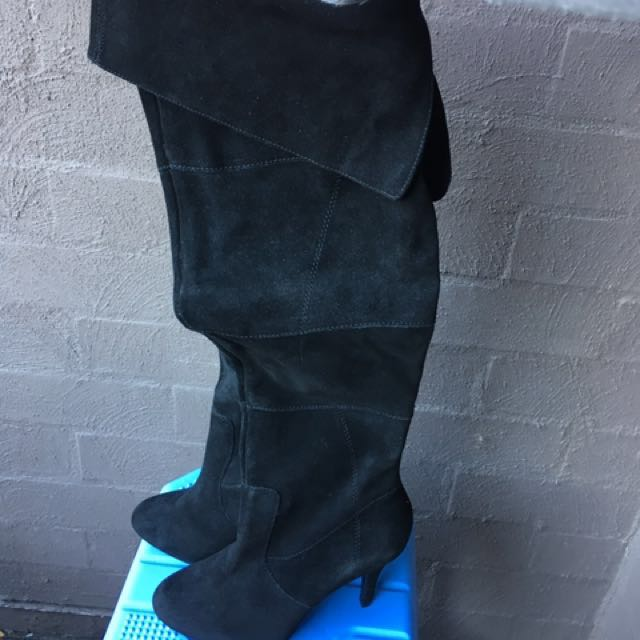 Mollini Leather Suede Black Knee High Boots