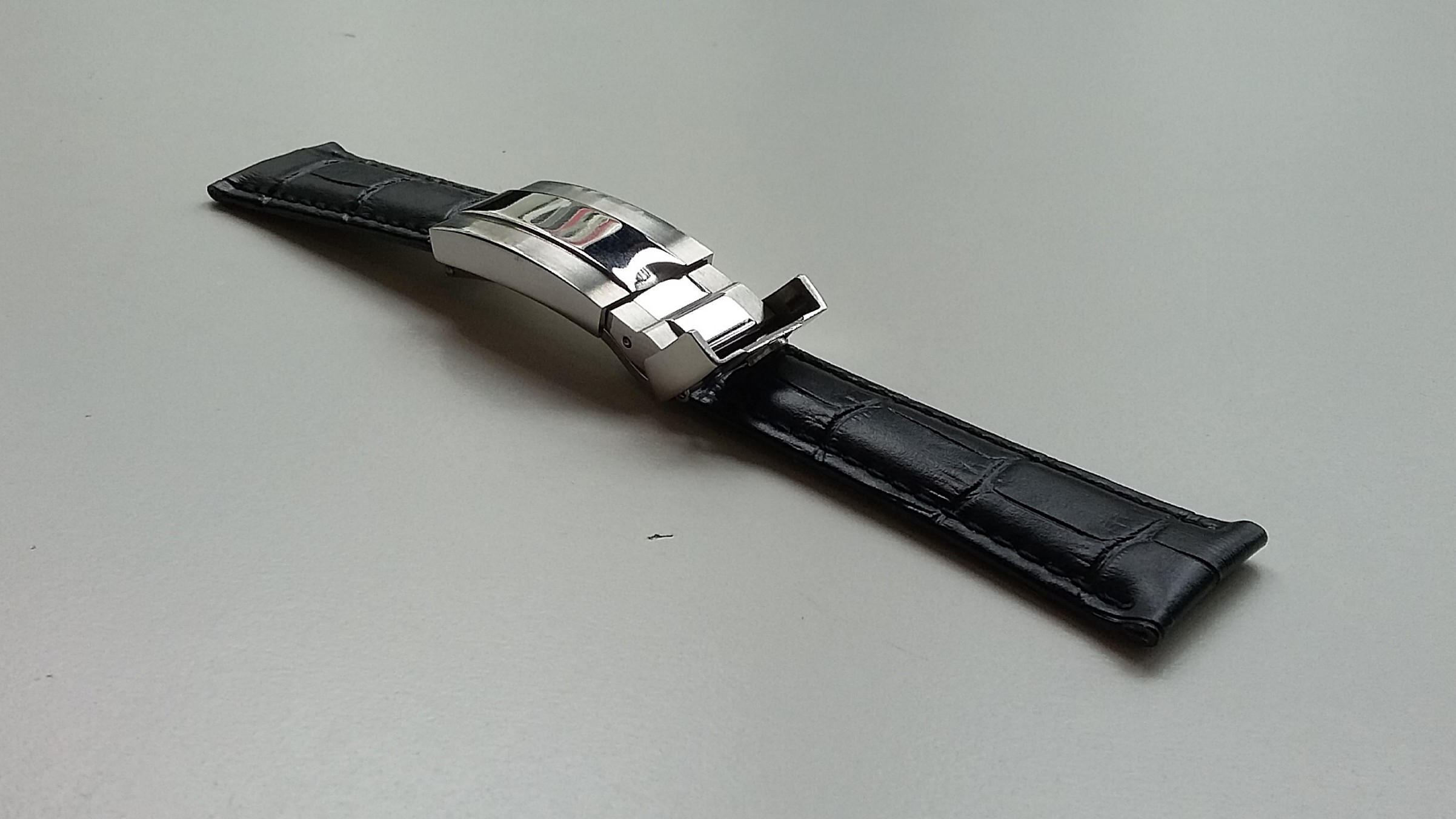79594a9b9cd NEW 20mm BLACK LEATHER STRAP WITH STEEL DEPLOYMENT CLASP FOR ROLEX ...