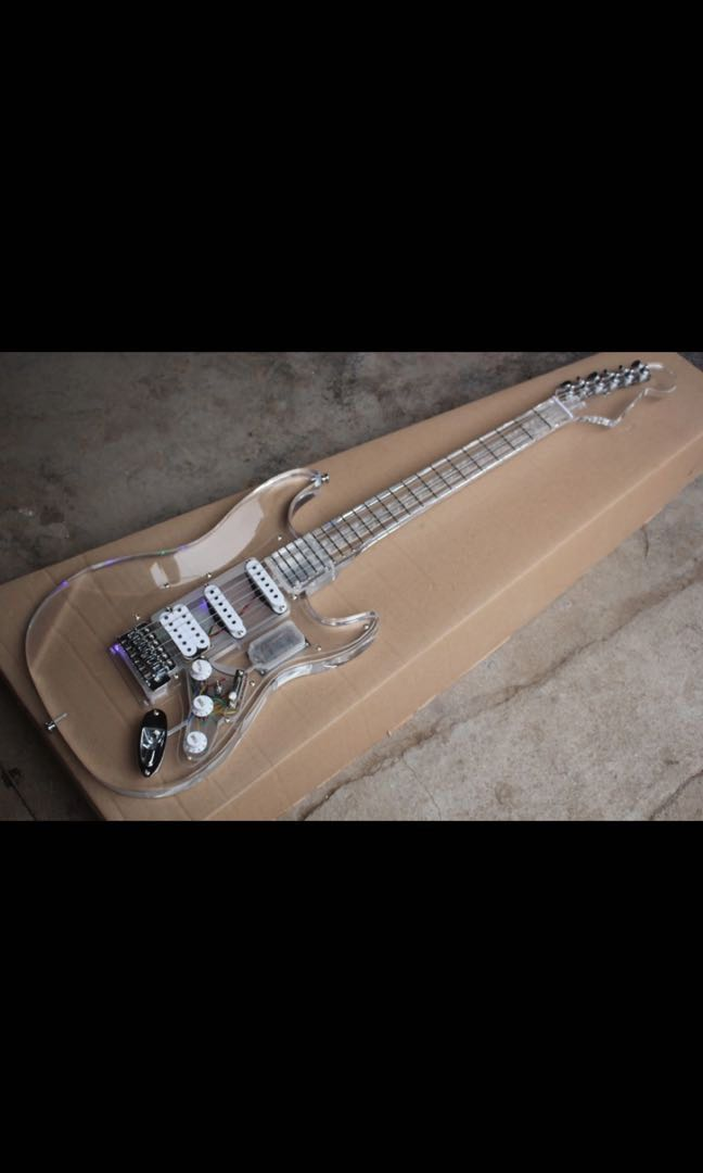 New Arrival Acrylic body Electric Guitar with Wood pickguard, 24Frets  Transparent Guitar, Real photo showing, Wholesale