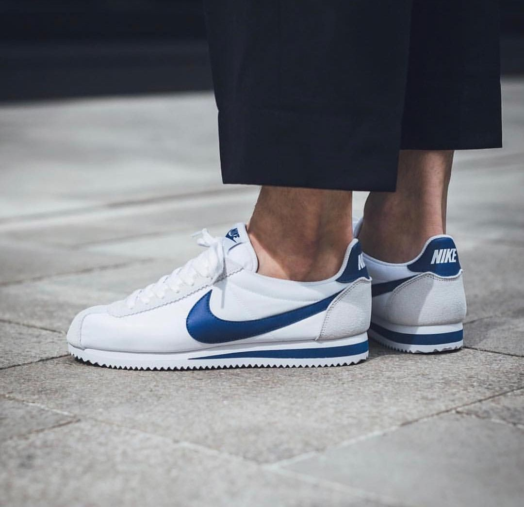 the latest ffbb5 0b948 Nike Classic Cortez Nylon WhiteGym Blue, Mens Fashion, Mens Footwear on  Carousell