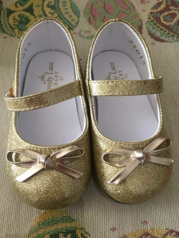PL] baby girl shoes size 21 gold Color