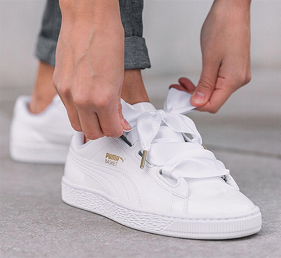 watch 38f0d 4a182 Puma Basket Heart Patent White