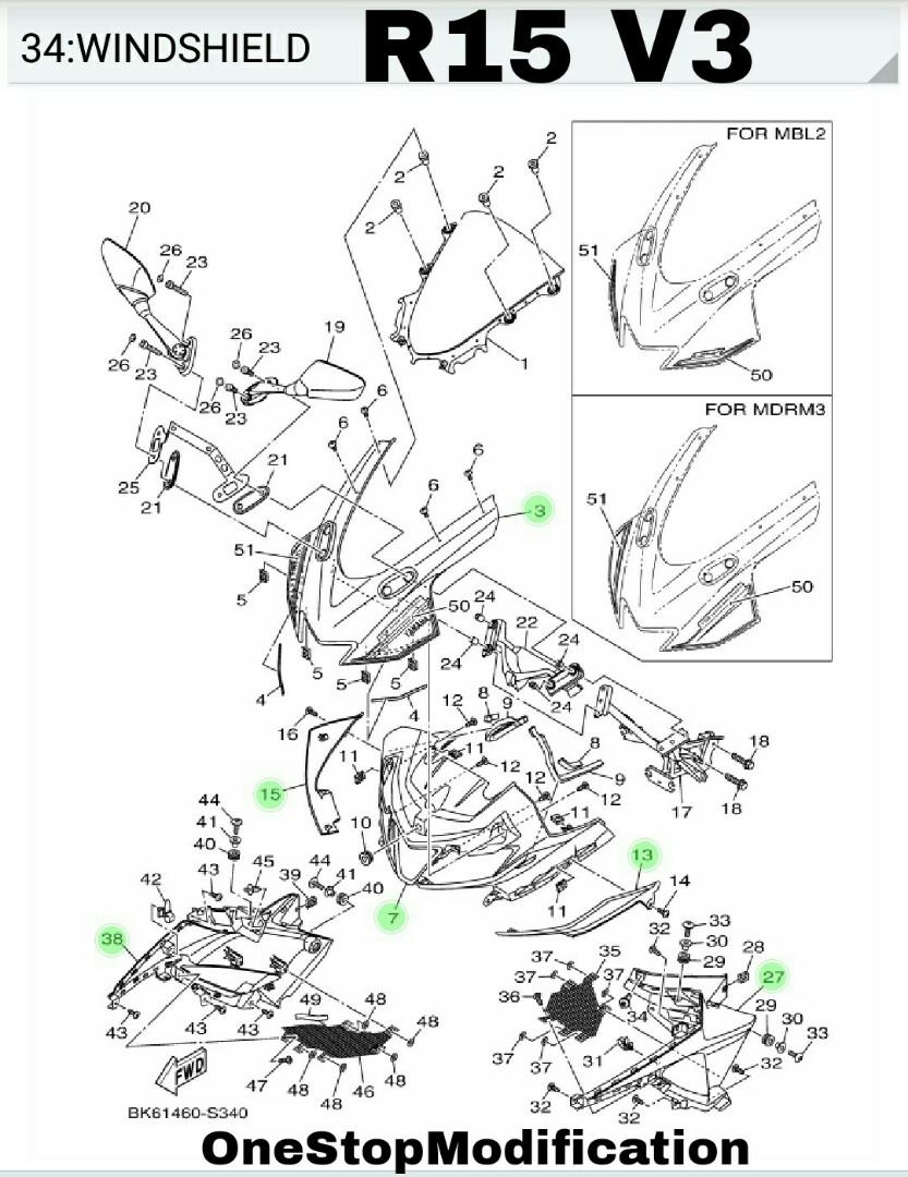 R15 V2  U0026 V3  Original Parts For Yamaha R15  Motorbikes