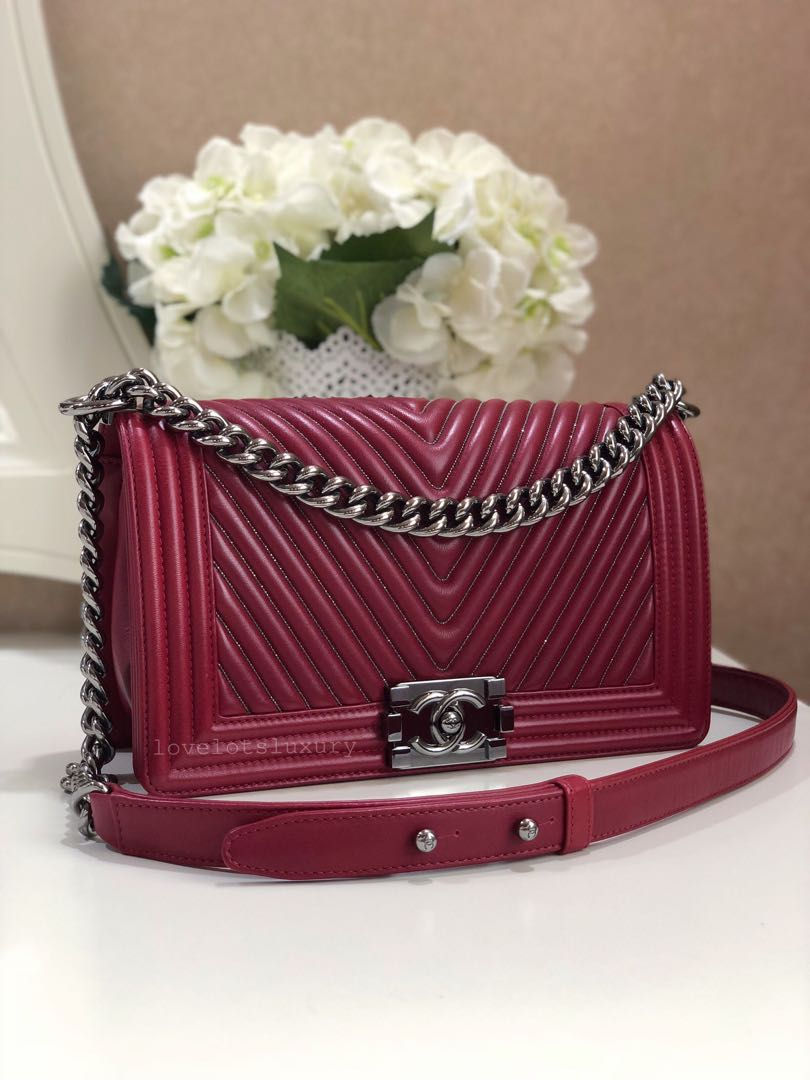 554374197c1f0f (RESERVED) Chanel Old Medium Boy Chevron with Intricate Glittering Beads  Details Dark Wine Red Calfskin with Dark Shiny Silver Hardware, Luxury, Bags  ...