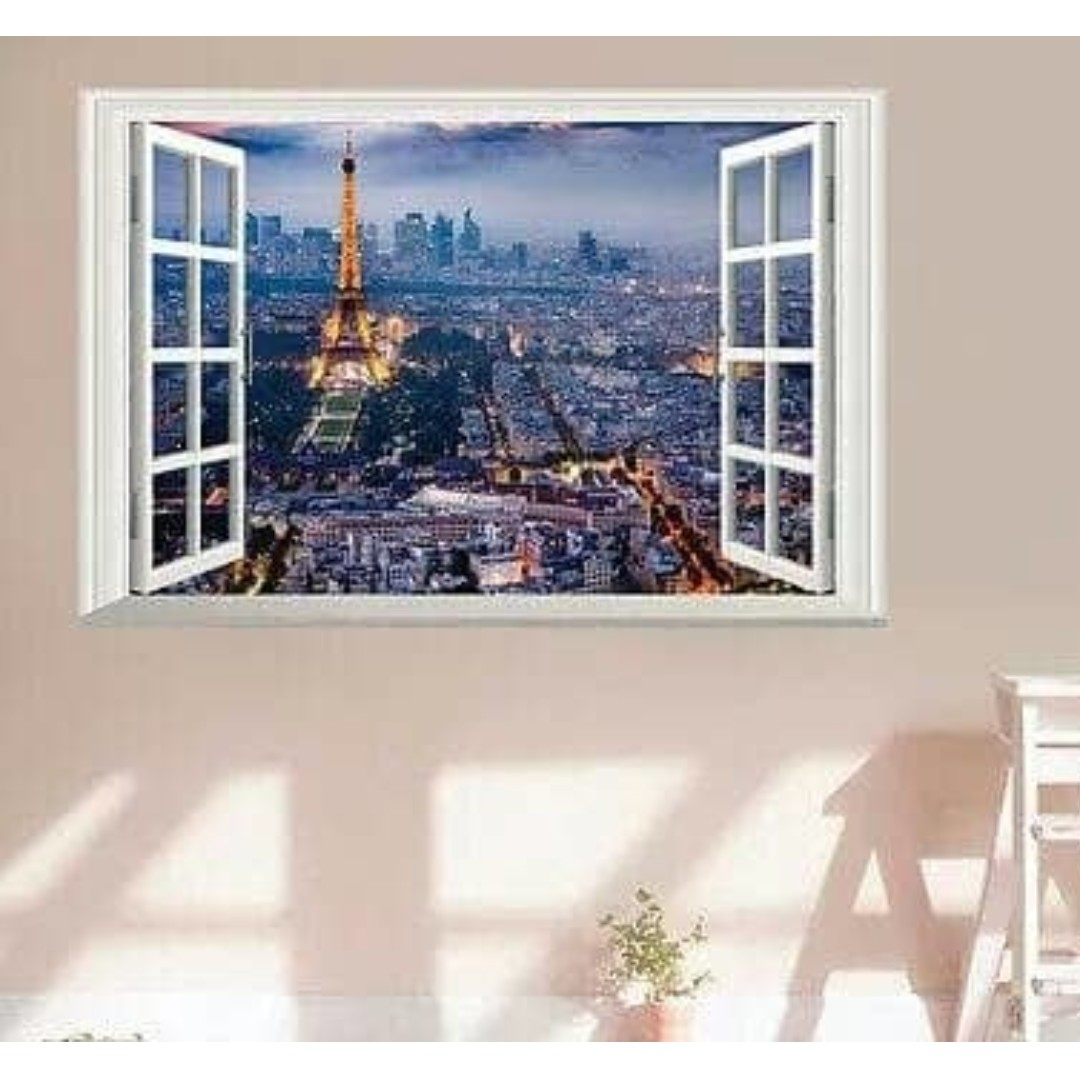 Wallsticker Wallpaper 3d Dimensi Pemandangan View Kota