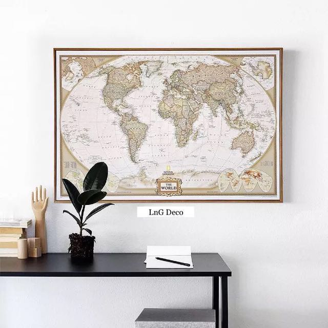 World Map Frame Pictures Home Office Shop Hotel Restaurant Deco Room ...