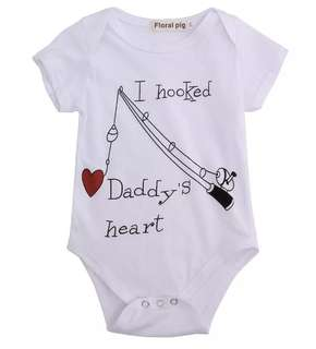 Po/I Hooked Daddy Heart Baby Romper