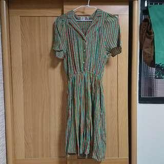細條紋彩色古著洋裝