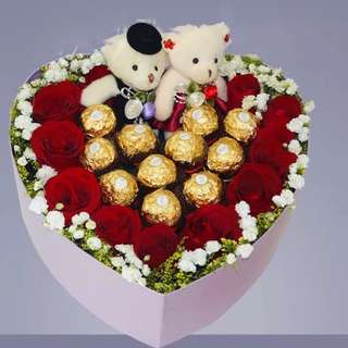 Heart Shape Gift Box: Chocolate Roses & Teddy Bear