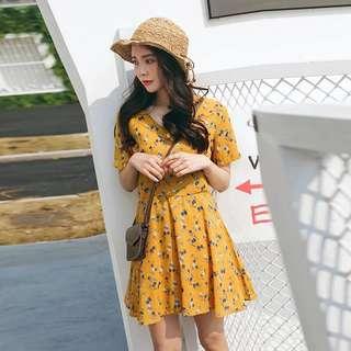 BN Floral Kimono Wrap Summer Babydoll Sun Dress in Yellow