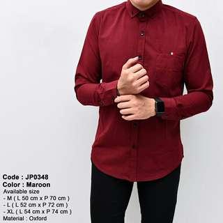 Baju kemeja pria kerja kantor merah maroon lengan panjang slimfit