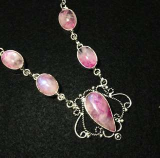 🗼 🗼 Paris Romance 🗼  Pink Rainbow Moonstone Necklace set in 925 Sterling Silver