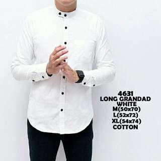 Baju kemeja pria putih polos kerah koko shanghai lengan panjang slimfit murah