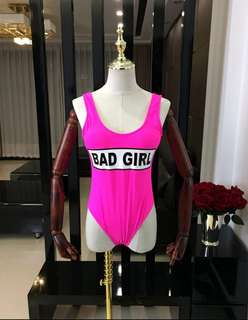Pink Bad Girl Wording Swimsuit