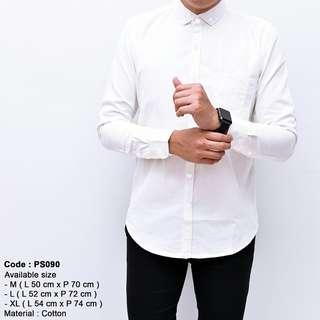 Baju kemeja pria putih polos kerja kantor lengan panjang slimfit murah