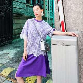 Lace Royal Purple Tee Dress