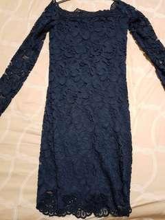 Navy blue flora bodycon dress (long sleeves)
