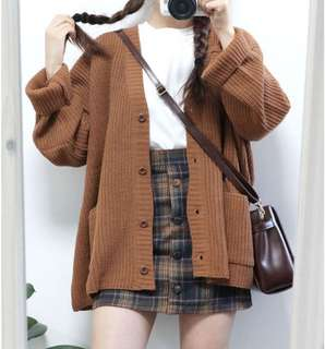 Brown Knitted Oversized Cardigan/Outerwear