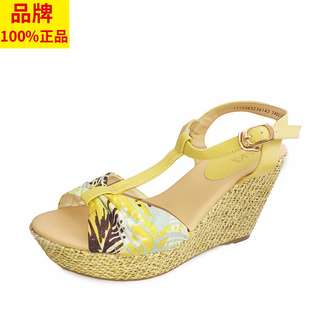 🚚 Daphne/達芙妮旗下鞋櫃春夏款甜美可愛坡跟增高露趾女涼鞋