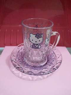 日本 Hello Kitty 玻璃杯+碟