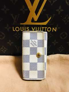 Authentic Louis Vuitton Damier Azur Multicles 4 Key Holder Wallet
