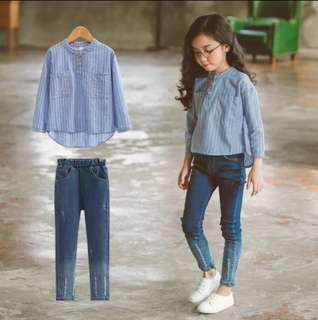 Girls Two Piece Suit Jeans