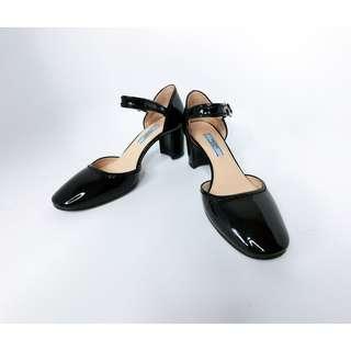 💯真品 近全新 Auth Prada patent Mary Jane 經典漆皮圓頭高跟涼鞋 36.5碼