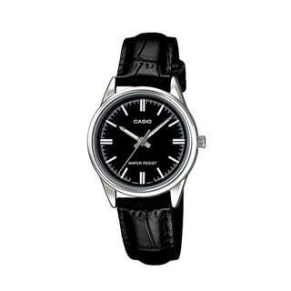 全新 CASIO卡西歐經典復古腕錶 黑色皮革錶帶小圓錶 (黑面)