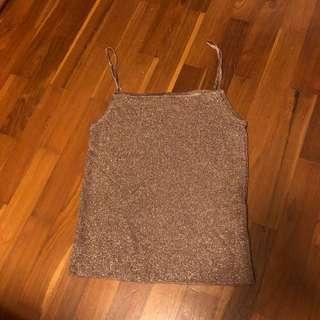 Gold glitter knit crop TOP