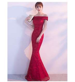 Ladies long evening dress red blue green boatneck fishtail