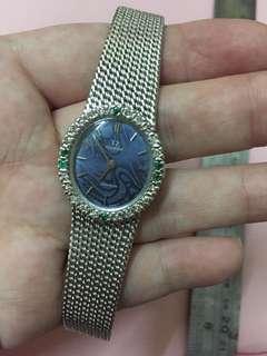 16cm 長 omega 綠寶石+鑽石上鍊銀錶 working (後➕銀帶,不是18k)
