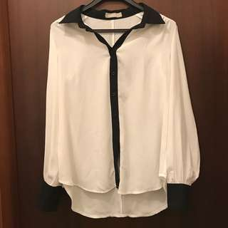 White Blouse Longsleeve Top