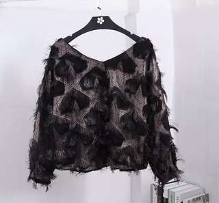 PO - New Korean Temperament Feather Tassel V-neck Long Sleeves Loose Blouse (3 colors)