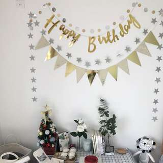 Birthday Party Bunting Gold Flag Banner