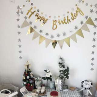 Happy Birthday Party Gold Banner Flag