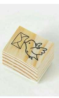 Mailing bird wooden stamp