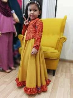 Instock Adelia Dress Yellow Red - Size 4