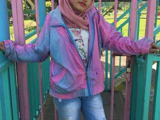 Daily Jacket Full Zip Gradation color Block blue pink purple