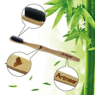Bamboo Toothbrush Soft Charcoal Infused Bristles