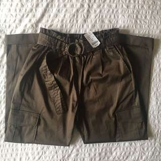 M Boutique - Olive Cargo Pants With Belt