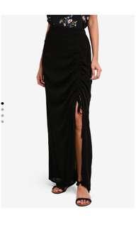 Black maxi skirt slit