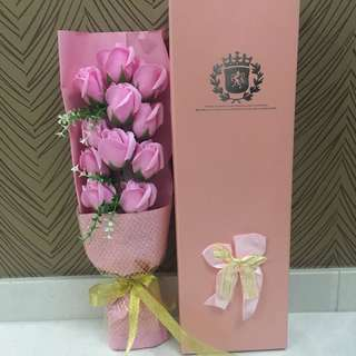 11 Pink Roses Soap Flower Bouquet (pink wrapper with gold netting)